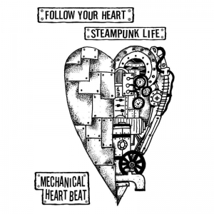 Stempel kauczukowy 15x20cm Mechanical Heart